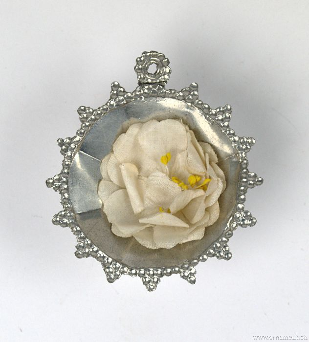 Tin Rosette with Fabric Flower