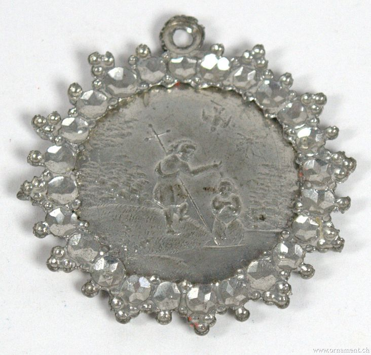 Tin rosette with Baptism Motive