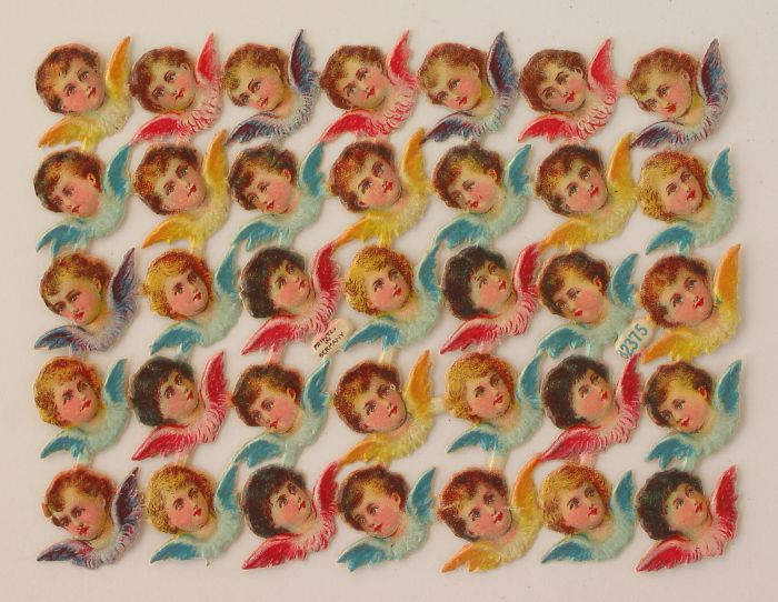 Sheet with 35 Scraps of Angel Heads