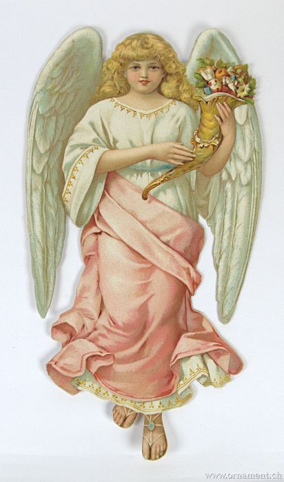 Large Angel with Cornucopia and Flowers