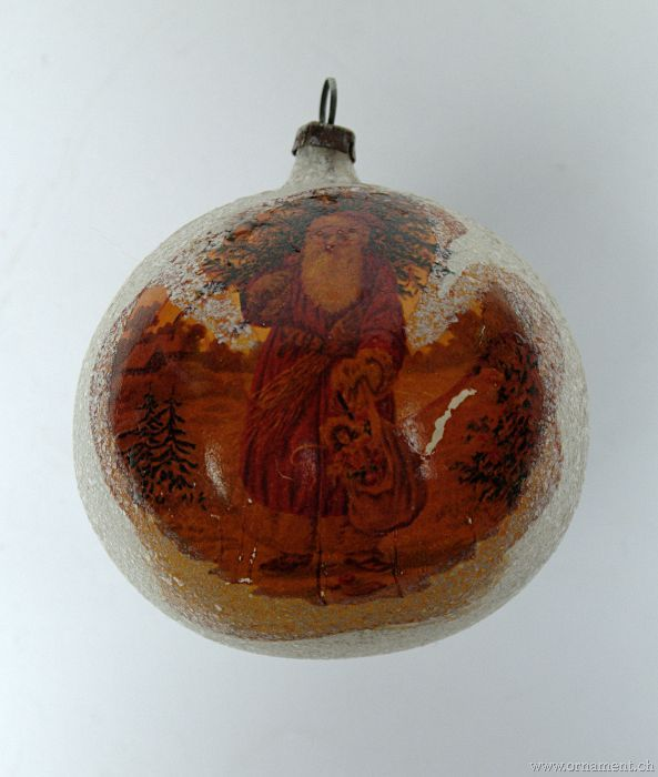 Glass Ornament with Santa Decal