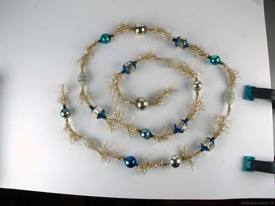 Tinsel Garland with Silver and Blue Beads