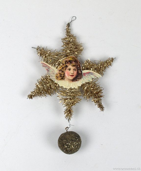 Tinsel Ornament with Angel scrap