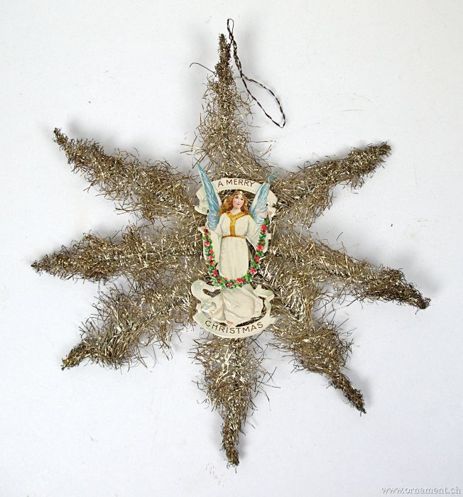 Large Tinsel Star with Angel Scrap