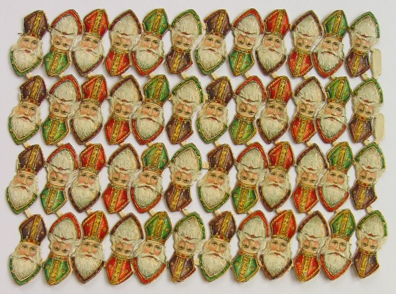 Sheet with 48 Scraps of Santa Heads