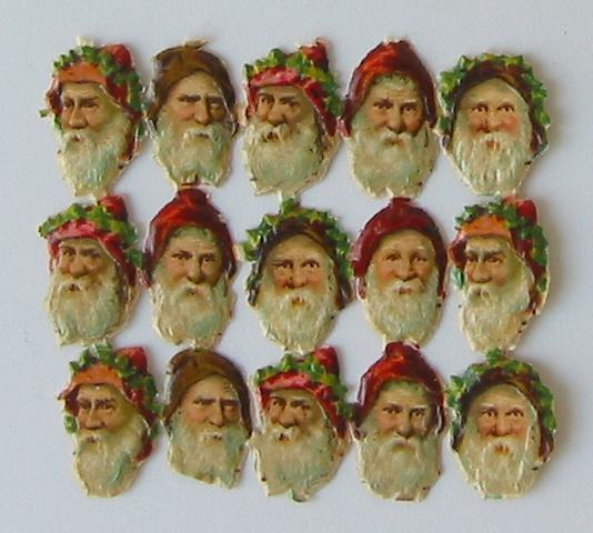Sheet of Scraps of 15 Santa Heads
