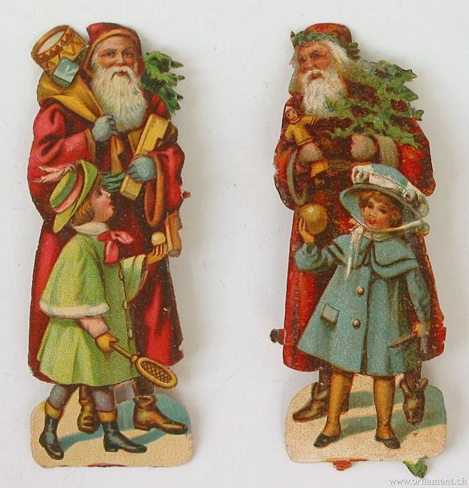 Two Scraps Santa with Children.