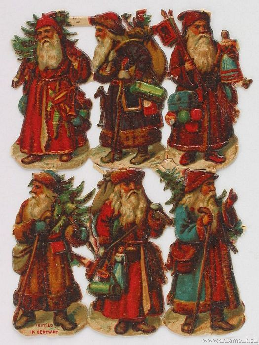 Sheet of Six Santas with Gifts