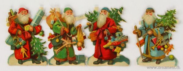 Sheet of Four Santa Scraps with Tree