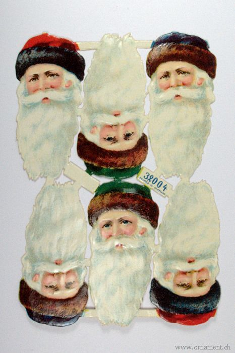 Sheet of Six Santa Head Scraps