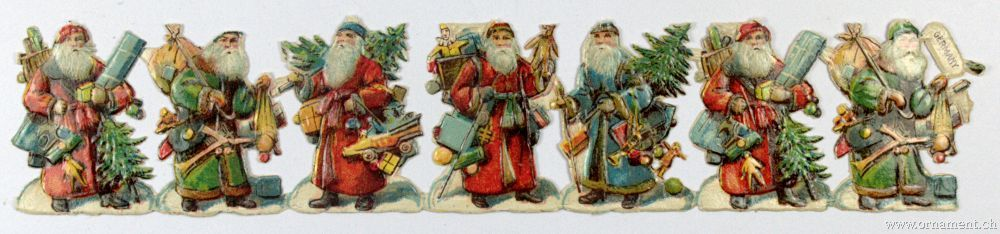 Sheet of Seven Santa Scraps with Tree