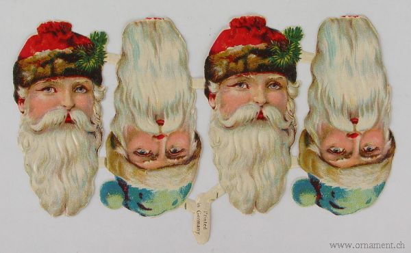 Sheet with Four Santa Heads