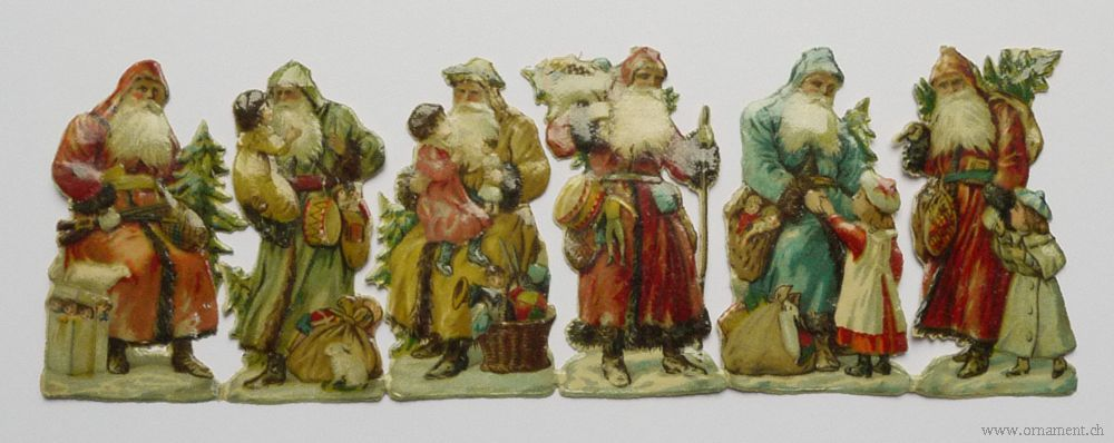 Sheet of Six Santa Scraps with Children