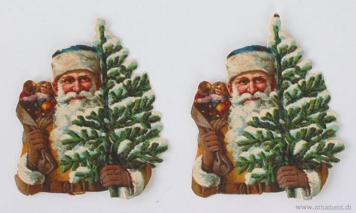 Two Scraps Santa with Tree
