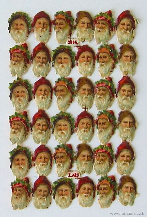 Sheet of Scraps of 36 Santa Heads