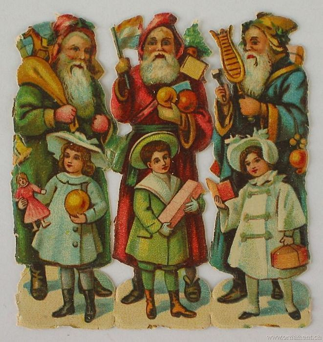 Sheet of Three Santa Scraps with Children