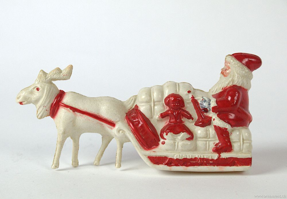 Santa with Reindeer, Celluloid