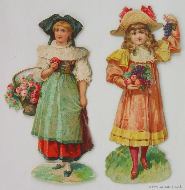 Two Girls with Fruits and Flowers