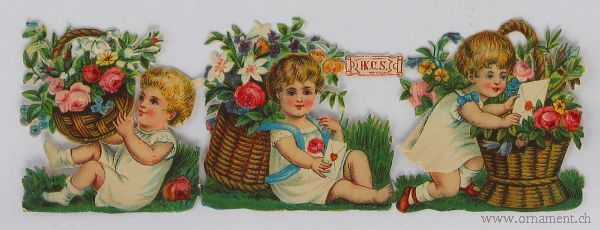 Sheet with Children and Flower Baskets