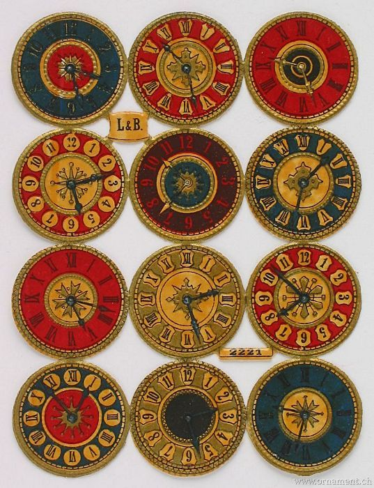 Sheet of 12 Different Clock Faces