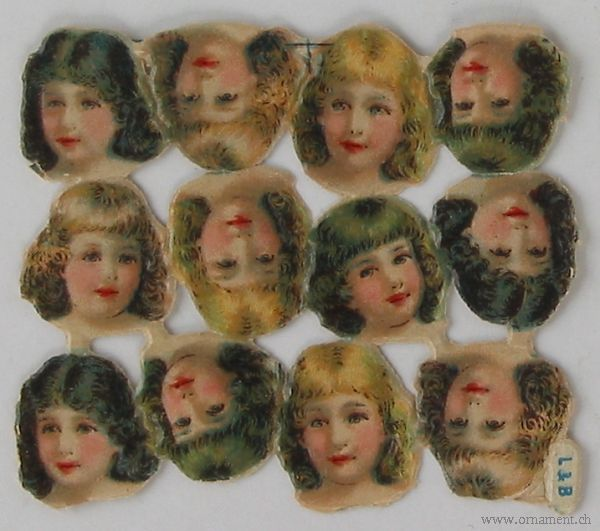 Sheet of 12 Scraps with Girl's Head