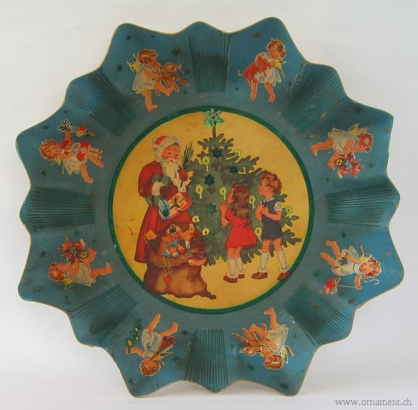 Christmas Cookie Plate with Santa and Children