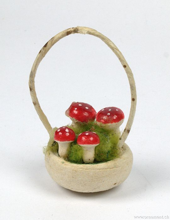 Cotton Basket with Mushrooms
