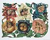 Sheet with Six Scraps with Flower Children